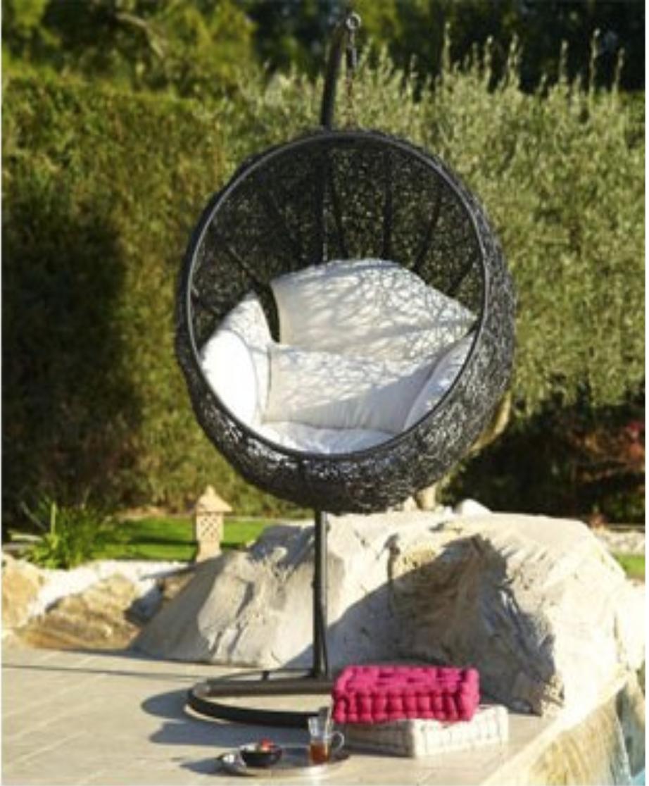 Balancelle de jardin en r sine tress e salon canape for Balancelle jardin belgique