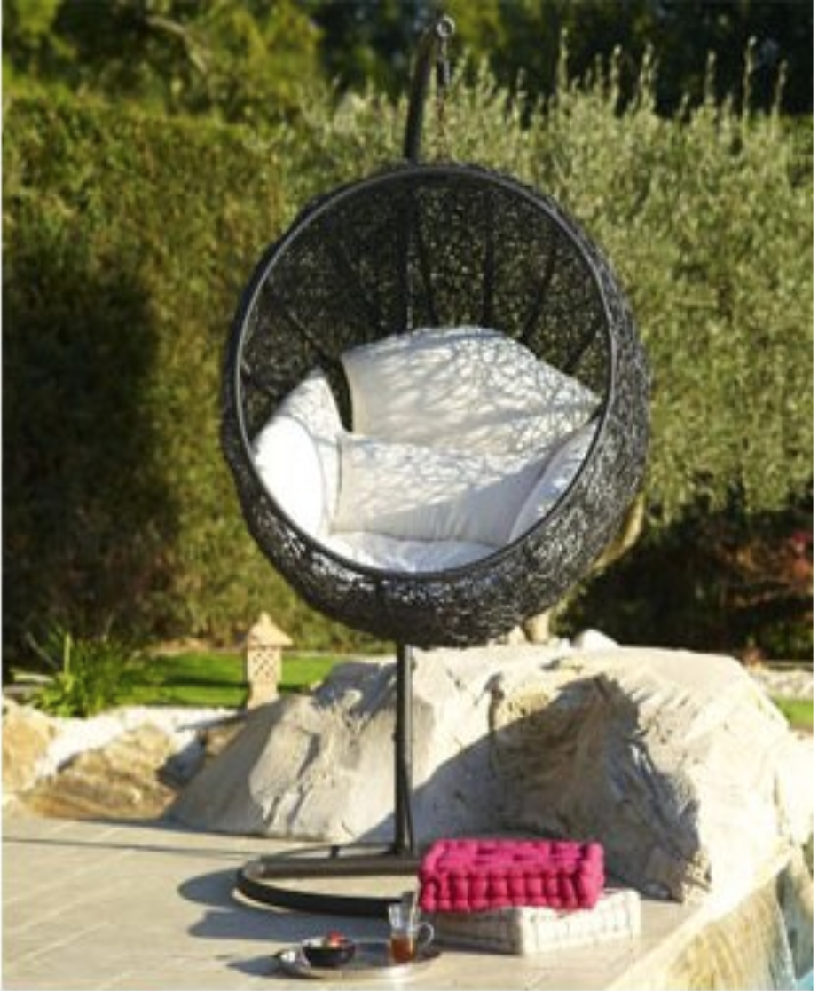 Balancelle de jardin en r sine tress e salon canape for Balancelle de jardin jardiland